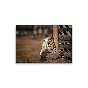 Meisje met kleine lamsposter -Beeld door Shutterstock