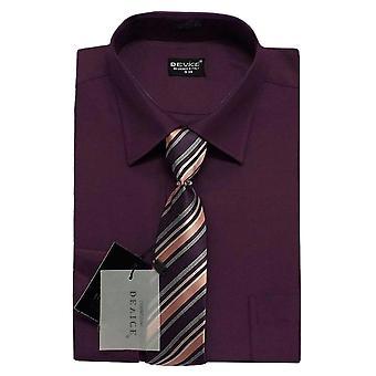 Men Plum Shirt and Tie Set