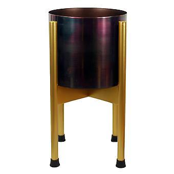 Medium Gold Stand with Iridescent Rainbow Metal Planter 38.5cm x 18cm
