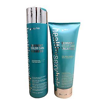 Healthy Sexy Hair Reinvent Color Care Shampoo 10.1 OZ & Treatment 6.8 OZ Set