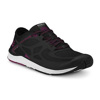 Topo St-2 Womens 0mm Zero Drop & Wide Toe Box Road Running Shoes Black/raspberry