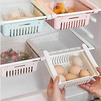 Adjustable & Stretchable Refrigerator Organizer Drawer Basket for Vegetable & Food Storage