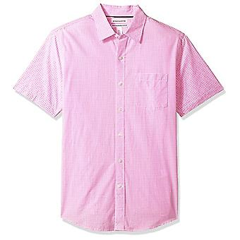 Essentials Men's Slim-Fit Short-Sleeve Casual Poplin Shirt, rosa Gingham, XX-Large