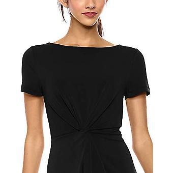Brand - Lark & Ro Women's Crepe Knit Short Sleeve Center Twist Dress, Black, 8