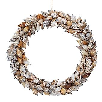 Gisela Graham 27cm Spiral Shell Seaside Floristry Wreath to Decorate