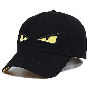 قبعة البيسبول - العين الصفراء المطرزة - أسود