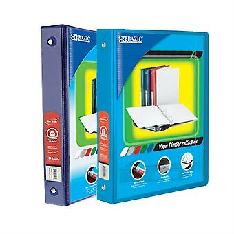 Combo52, BAZIC 1 Inch 3-Ring View Binder with 2-Pockets (Case pack of 24 consist 12-Blue & 12-Cyan)