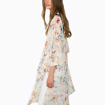 CROSS1946 Fashion Women's Sheer Chiffon Kimono Cardigan Vintage Floral Long B...