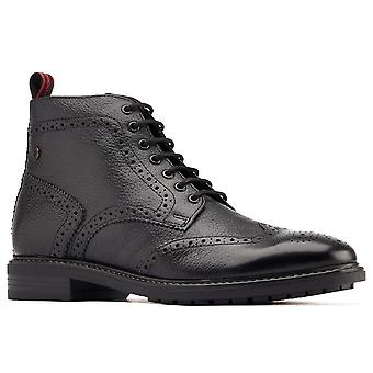 Base London Mens Berkley Leather Lace Up Brogue Boots