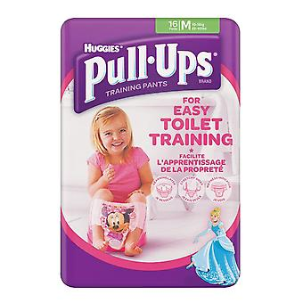 Girls Medium 10-18kg Toilet Potty Training 16 Pull Ups Re-sealable Stretchy