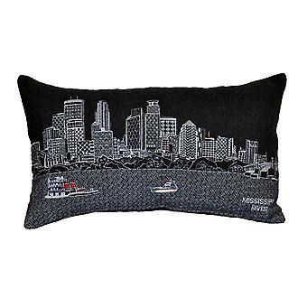 Spura Home Minnealpolis Novelty Skyline Contemporary Wool Day/Night Cushion