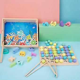 Geometrie din lemn Jigsaw Puzzle Board Set-Baby Montessori Jucării educative