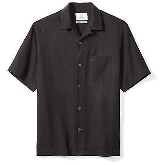 28 Palms Men's Relaxed-Fit 100% Silk Camp Shirt, Zwart, X-Large