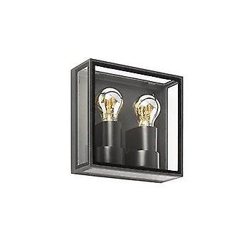 Faro Pomo - Outdoor Box Wall Lamp Dark Grey 2x E27 IP65