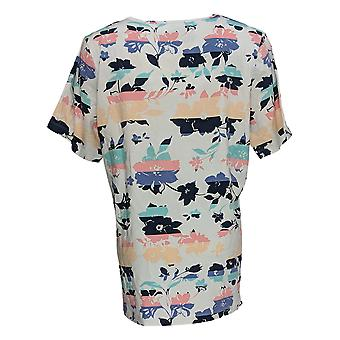 Denim & Co. Women's Top Printed Perfect Jersey Short-Sleeve White A375263