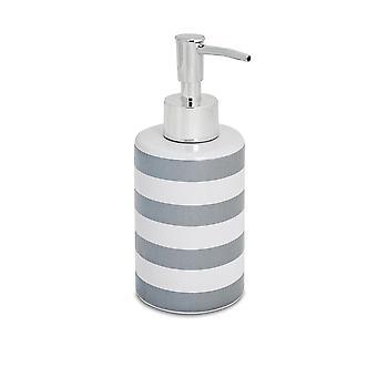 Soap Dispenser - Glazed Ceramic Household Hand Pump Bottle - 280ml - Grey Stripe