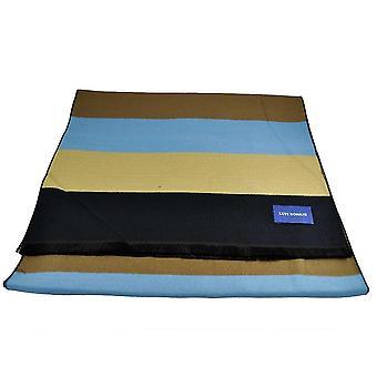 Laços Planeta Lupi Romani Preto, Ouro, Azul Claro, Bege, Royal Blue & Brown Striped Scarf