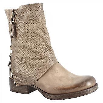 Leonardo Shoes Women's handgemaakte midcalf laarzen in grijs kalfsleer met zijritssluiting en geometrisch patroon