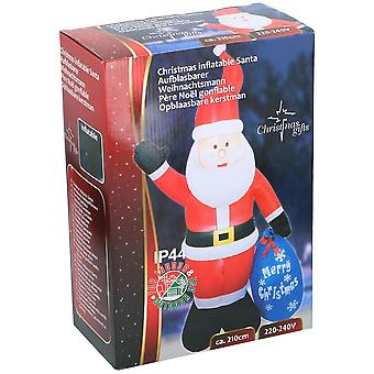 Santa Nicholas with Sack Inflatable LED 210 cm Inflatable Christmas Polar Decoration Christmas with Motor Blow Up