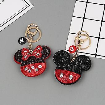 Crystal Mickey And Minnie Shape Keychain With Lanyard