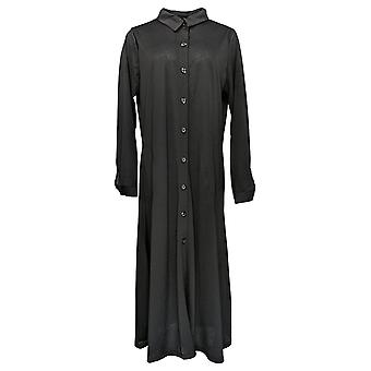 Women with Control Women's Top Button Front Duster Black A382806
