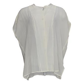 WynneLayers Women's Top M Woven Semi-Sheer Chiffon Blouse White 694-652