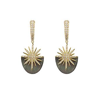 Boucles d'oreilles Latelita Pearl White Mother Gold Grey Designer Large Statement CZ