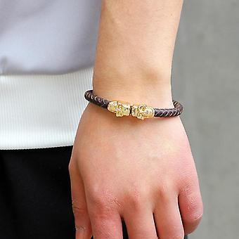 Domineering Woven Magnetic Buckle Men's Leather Bracelet
