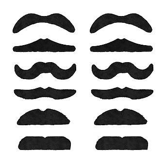 Trixes 12 self adhesive assorted fake moustache set fancy dress