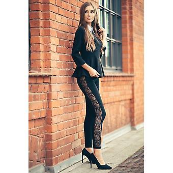 Womens Full Length Lace Stripe Elegant Stretchy Pants Lpl