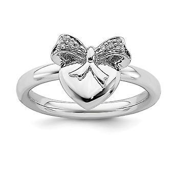 925 Sterling Sølv Polert Prong Sett Stackable Uttrykk Kjærlighet Hjerte Med Bow Diamond Ring Smykker Gaver til Kvinner -