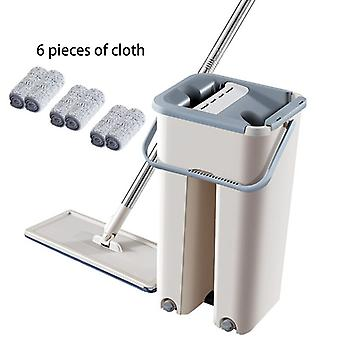 Hand-free Magic Mop Fiber Cleaning Cloth Home Kitchen Wooden Floor Automatic Lazy Fellow Mop Flat Squeeze Mop