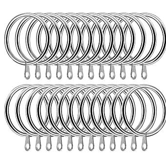 24 Pack Metal Curtain Rings Curtain Drape Pole Rod Rings with Holes Sliver