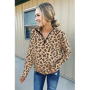 Naisten lämmin neljännes vetoketju leopardi collegepaita