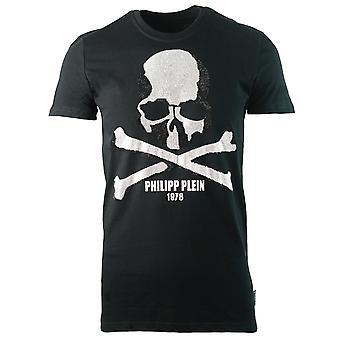 Philipp Plein Skull en Crossbones Logo Zwart T-shirt