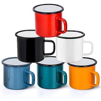 Enamel Coffee Tea Mug Set of 6, HaWare Red/Yellow/Blue/Green/White/Black, 350 ml