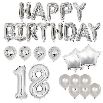 Happy 18th birthday balloon banner deluxe party pack - silver