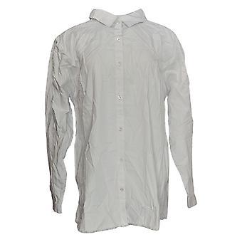 Coleção Joan Rivers Classics Women''s Top Shirt Fringe Hem White A302801