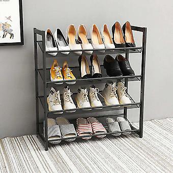 4 Tier Metal Steel Mesh Shoe Rack, Multi-Functional Shoe Tower Shelf, Shoe Storage Organiser