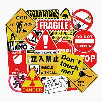 50pcs Cool Waterproof Spoof Graffiti Skateboard Pad Warning Stickers