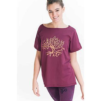 Tree of Life T Shirt - Organic Cotton, Burgundy, Loose Fit