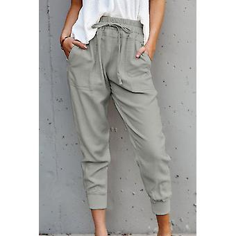 Women's Gray Casual Pockets Pants