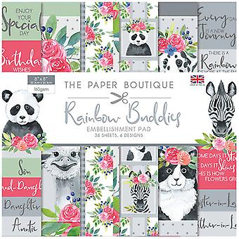 The Paper Boutique - Rainbow Buddies Collection - 8x8 Embellishments Pad