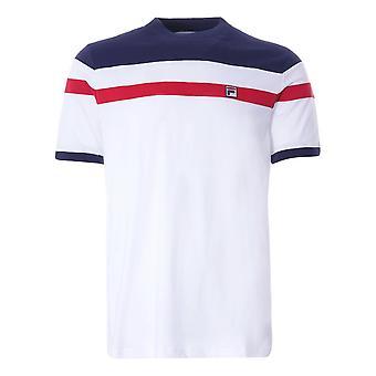 フィラステンカット&縫製Tシャツ - ホワイト /ピーコート/レッド