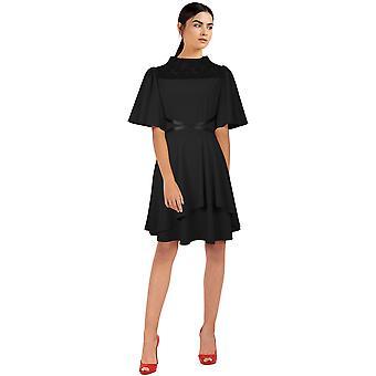 Chic Star Plus Size Cross Mini Vestido En Negro