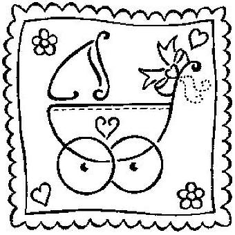 Baby's Pram Wood Mounted Stamp