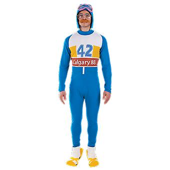 Mens Blue Eddie de adelaar Olympische skiër 80s Celebrity sport fancy dress kostuum