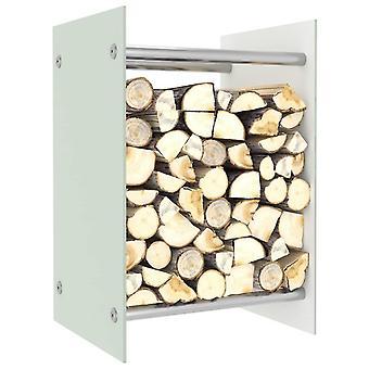 vidaXL firewood shelf White 40 x 35 x 60 cm glass