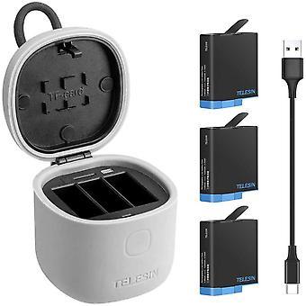 FengChun Akku (3 Stück) und 3-Kanal-Ladegerät mit USB-Typ-C-Kabel SD-Kartenleser Zubehörsatz für