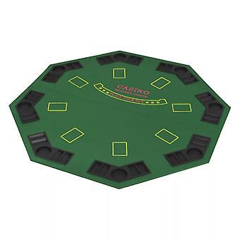 vidaXL 8-Spieler Poker Tischauflage Faltbar 4-fach Achteckig Grün
